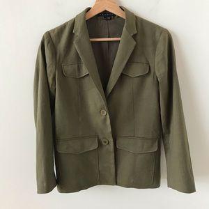 Theory green linen blazer